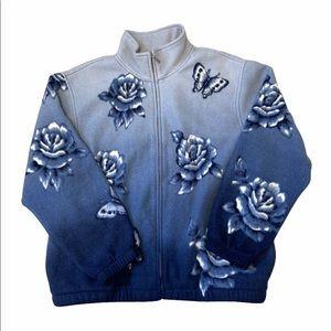Real Vintage 90's Fleece Floral Jacket SizeM GUC